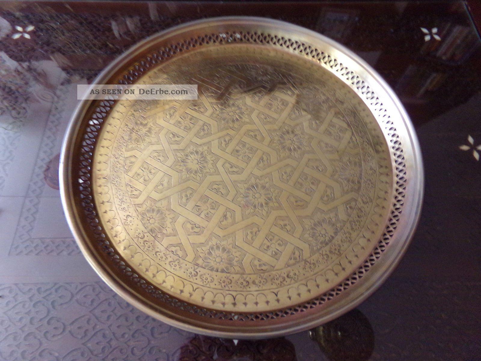Wunderschönes Antikes Marokkanischestablett Aus Massiven Messing Mit Mustern 56 Messing Bild