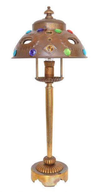 Sehr Niedliche Jugendstil Tischlampe Messing Laterne Bild