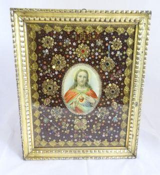 Antikes Votivbild Herz Jesulein Jesilein Aufwendige Handarbeit Klosterarbeit Bild