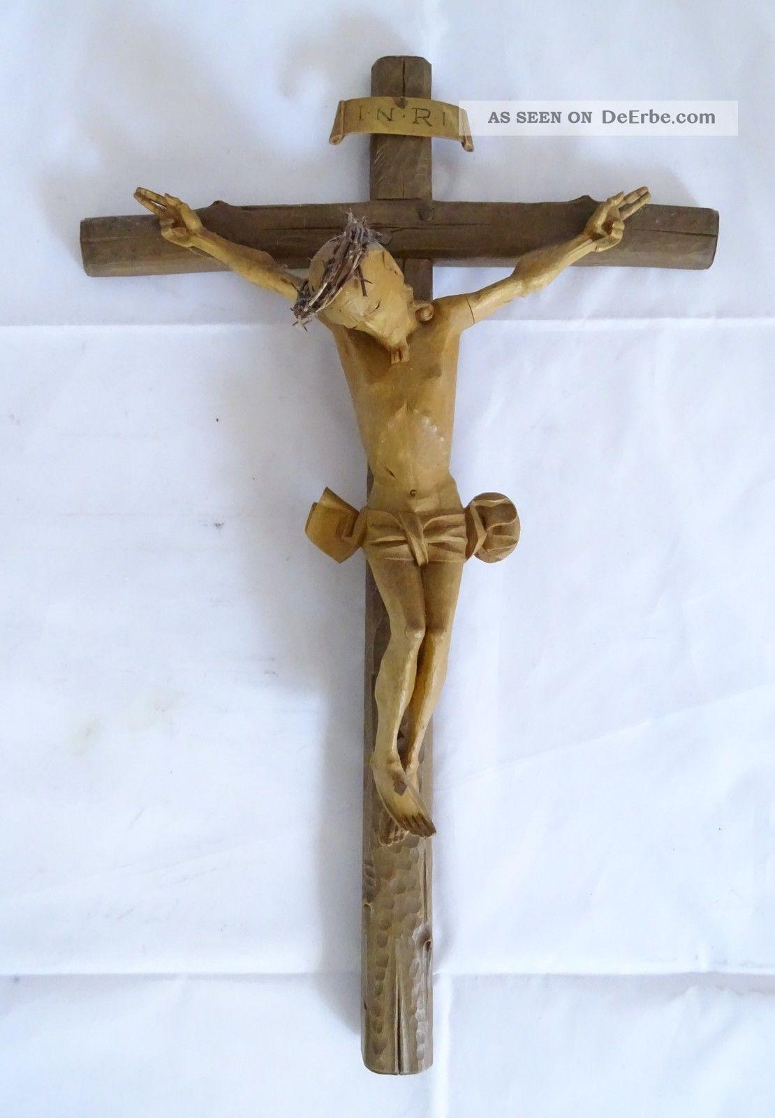 Sehr Frühes Antikes Inri Kruzifix Handgeschnitzt Wohl Vor 1900 Skulpturen & Kruzifixe Bild