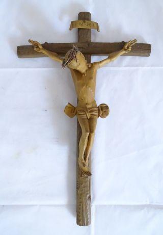 Sehr Frühes Antikes Inri Kruzifix Handgeschnitzt Wohl Vor 1900 Bild