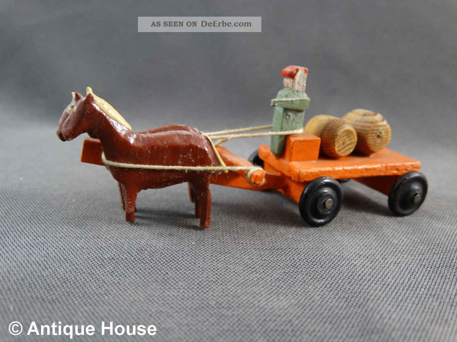 Erzgebirge Seiffen Altes Miniaturfuhrwerk Gespann Pferde Fuhrwerk Mit Fässern Objekte nach 1945 Bild