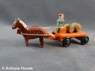 Erzgebirge Seiffen Altes Miniaturfuhrwerk Gespann Pferde Fuhrwerk Mit Fässern Bild