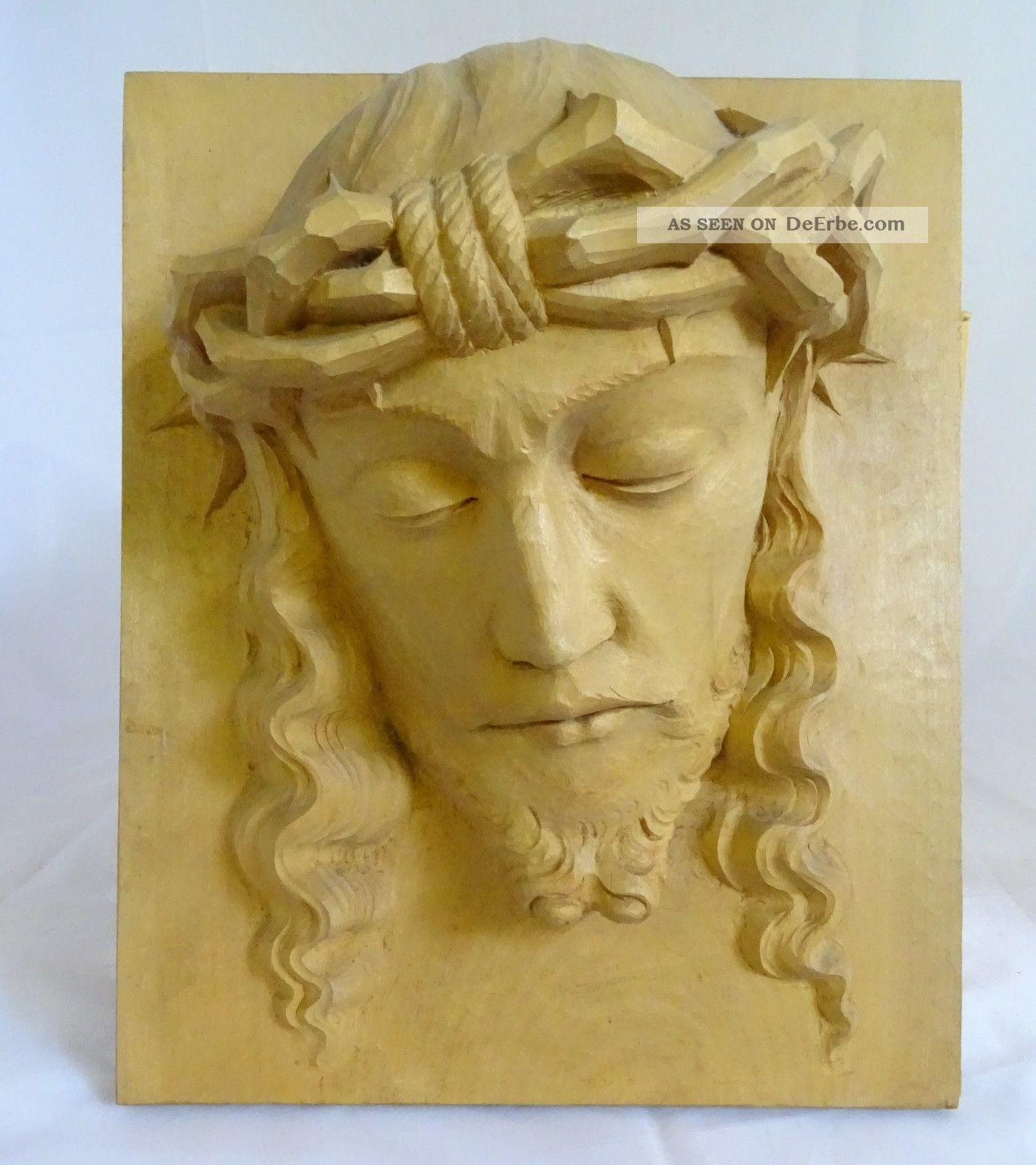Antike Museale Wand Plastik Jesus Relief Holzplatte Handgeschnitzt Klosterarbeiten Bild