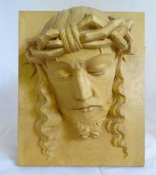 Antike Museale Wand Plastik Jesus Relief Holzplatte Handgeschnitzt Bild