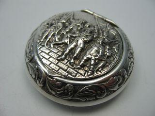 Reich Figürlich Verzierte Schöne Alte Pillendose Tabatiere Aus 800 Silber Bild