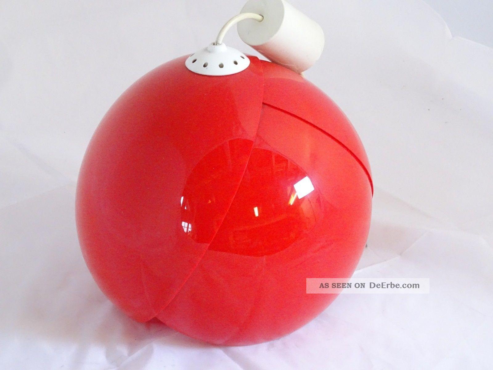 True Vintage Panton Ära Space Age Deckenlampe Moon Lamp In Knalligem Rot Lampe 1970-1979 Bild