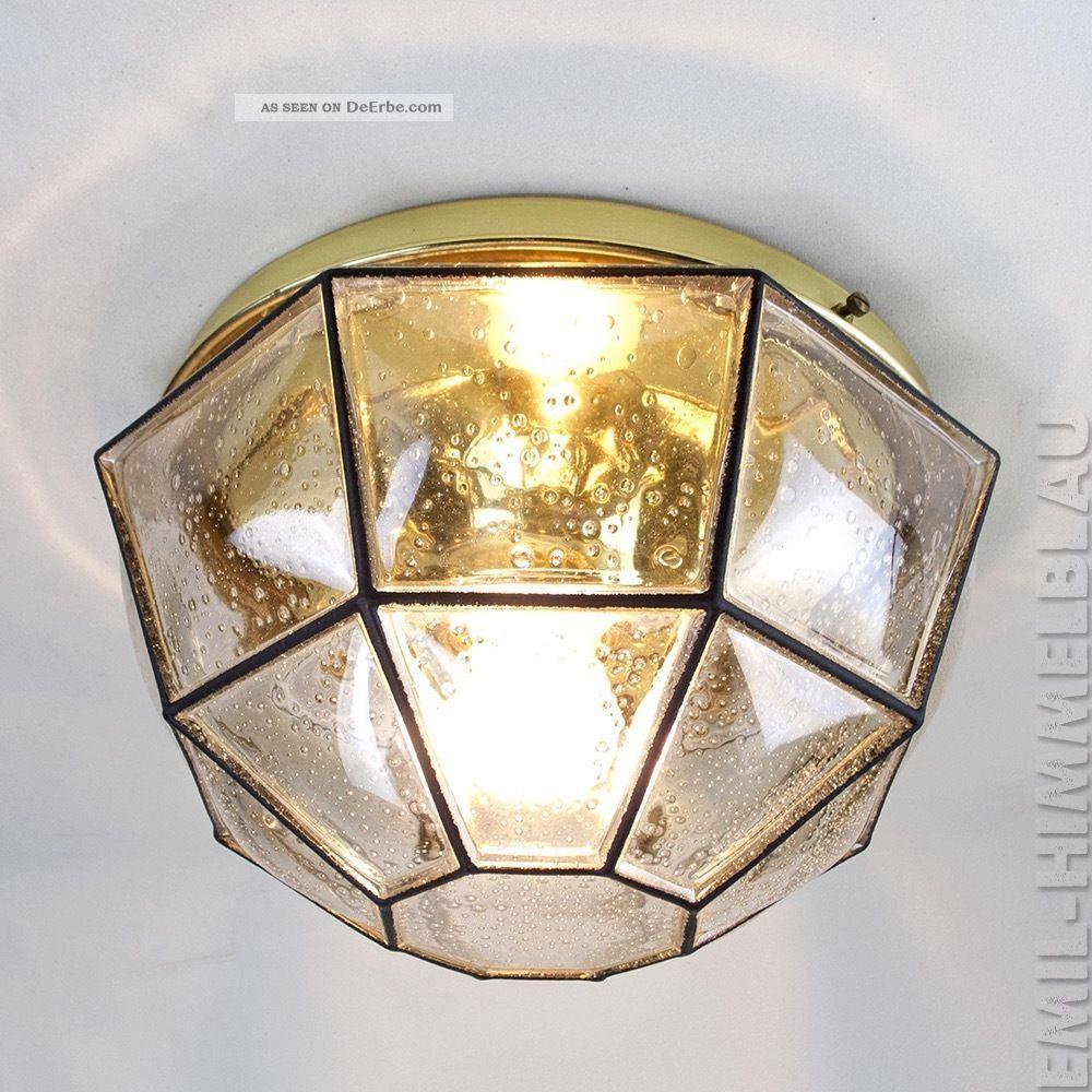 8 - Eckig GlashÜtte Limburg Deckenlampe Leuchte 60s Iron Glass Design Pendant Lamp 1970-1979 Bild