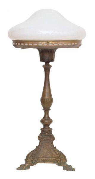 Klassische Jugendstil Schreibtischlampe Tischleuchte Lampe 1920 Messing Bild