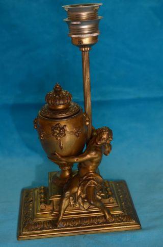 Antike Seltene Massive Jugendstil Lampe Mit Bronzefigur Mit Tintenfass 1890/1900 Bild