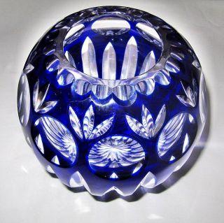 Kugelvase Bleikristall Handgeschliffen Kobaltblau Sammlerstück Bild