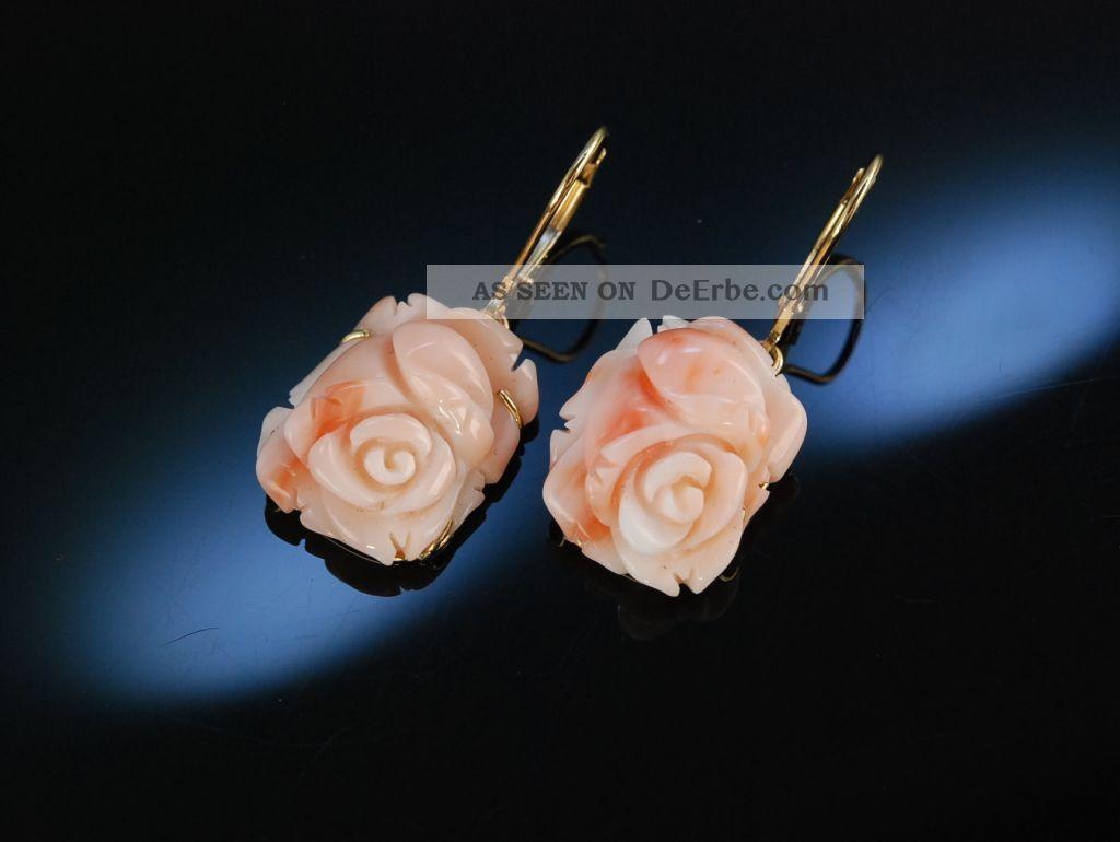 Feine Ohrringe OhrhÄnger Engelshaut Koralle Rosen BlÜten Gold 585 Coral Earrings Schmuck & Accessoires Bild