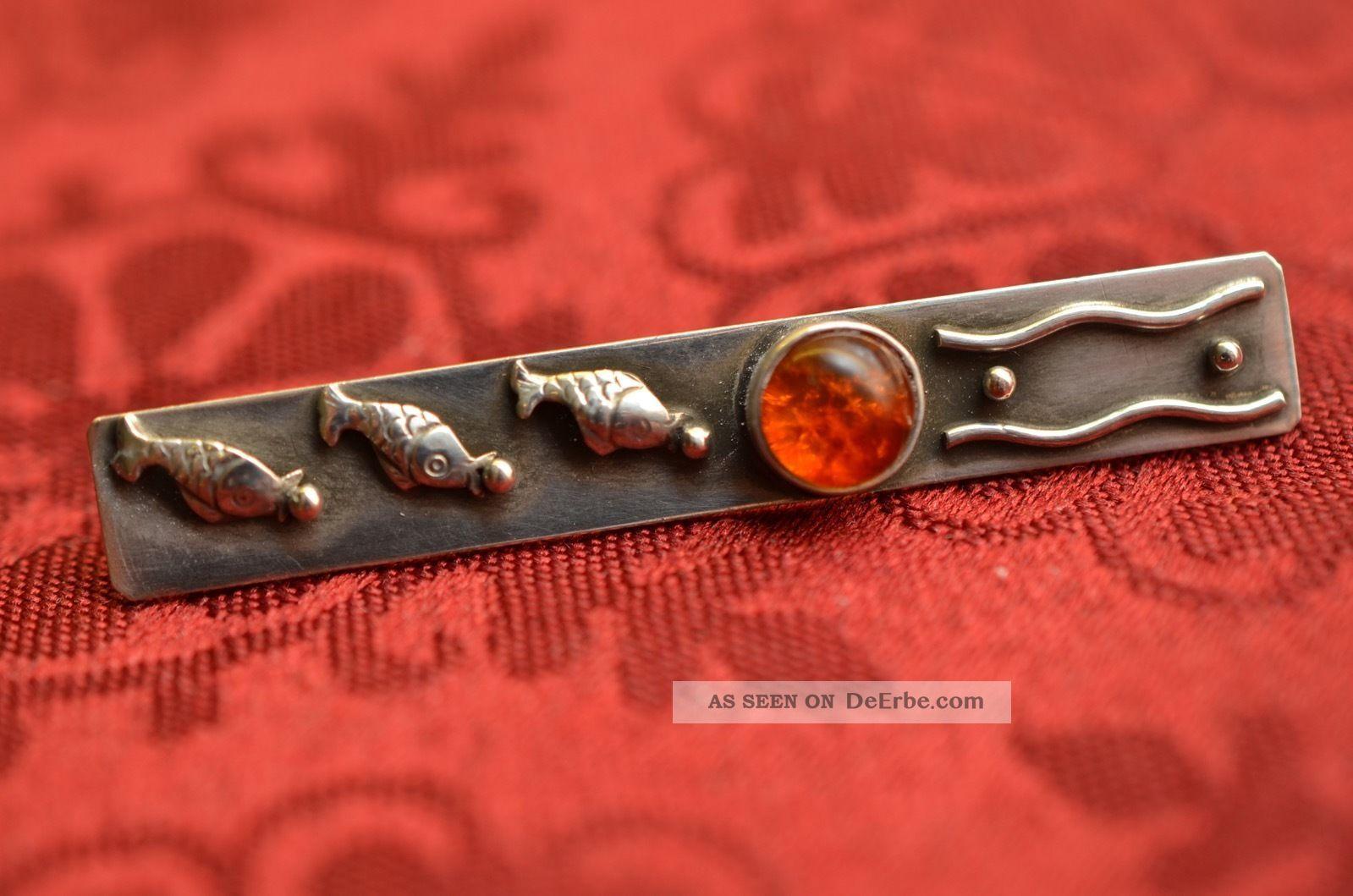 Alte Schöne Ausgefallene Jugendstil Brosche Silber 835 Mit Bernstein Broschen Bild