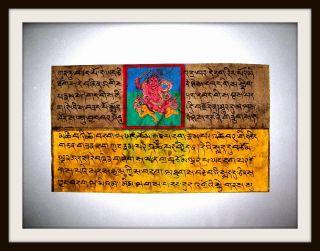 Tibetische Handschrift - Miniatur - Malerei,  Buddhismus,  Handkoloriert,  Rar Bild