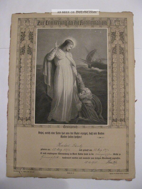 Antik - Rustikal Rar 1910 Erinnerung An Den Tag Der Konfirmation Altes Dokument Rahmen Bild