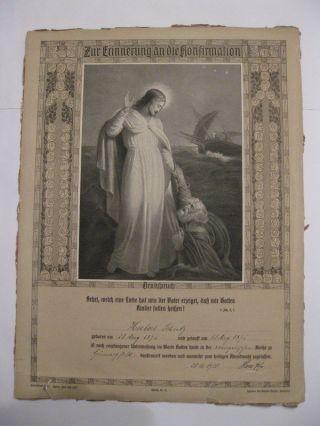 Antik - Rustikal Rar 1910 Erinnerung An Den Tag Der Konfirmation Altes Dokument Bild