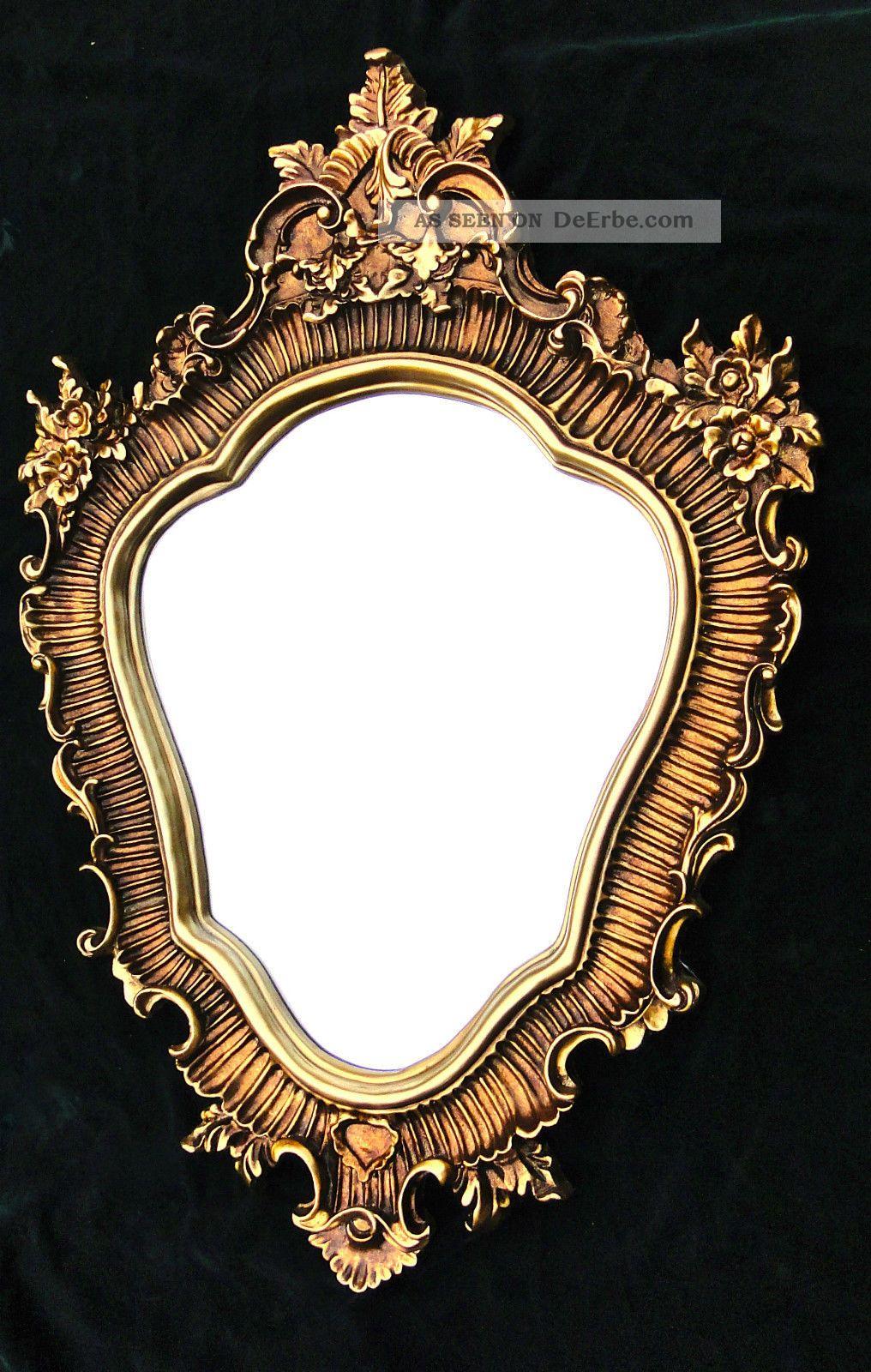 Großer Wandspiegel Barock Oval 103x73cm Badspiegel Antik Spiegel Gold Spiegel Bild