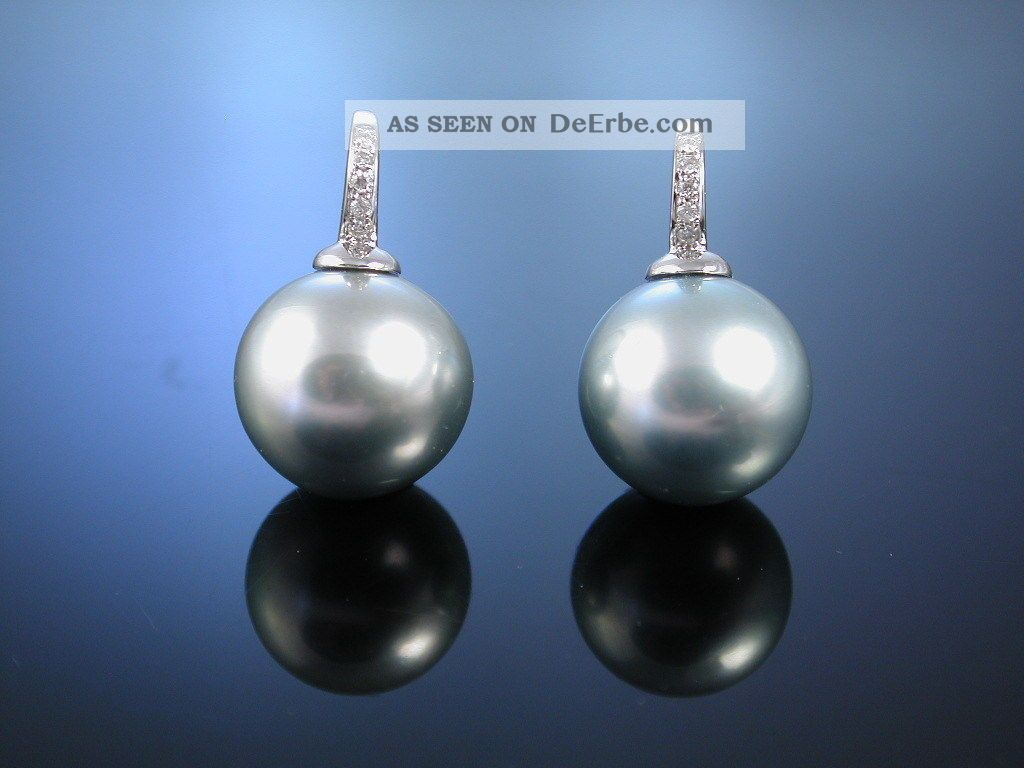 Tahiti Grey Zucht Perlen OhrhÄnger Brillianten Gold 750 Ohrringe Pearl Earrings Schmuck & Accessoires Bild