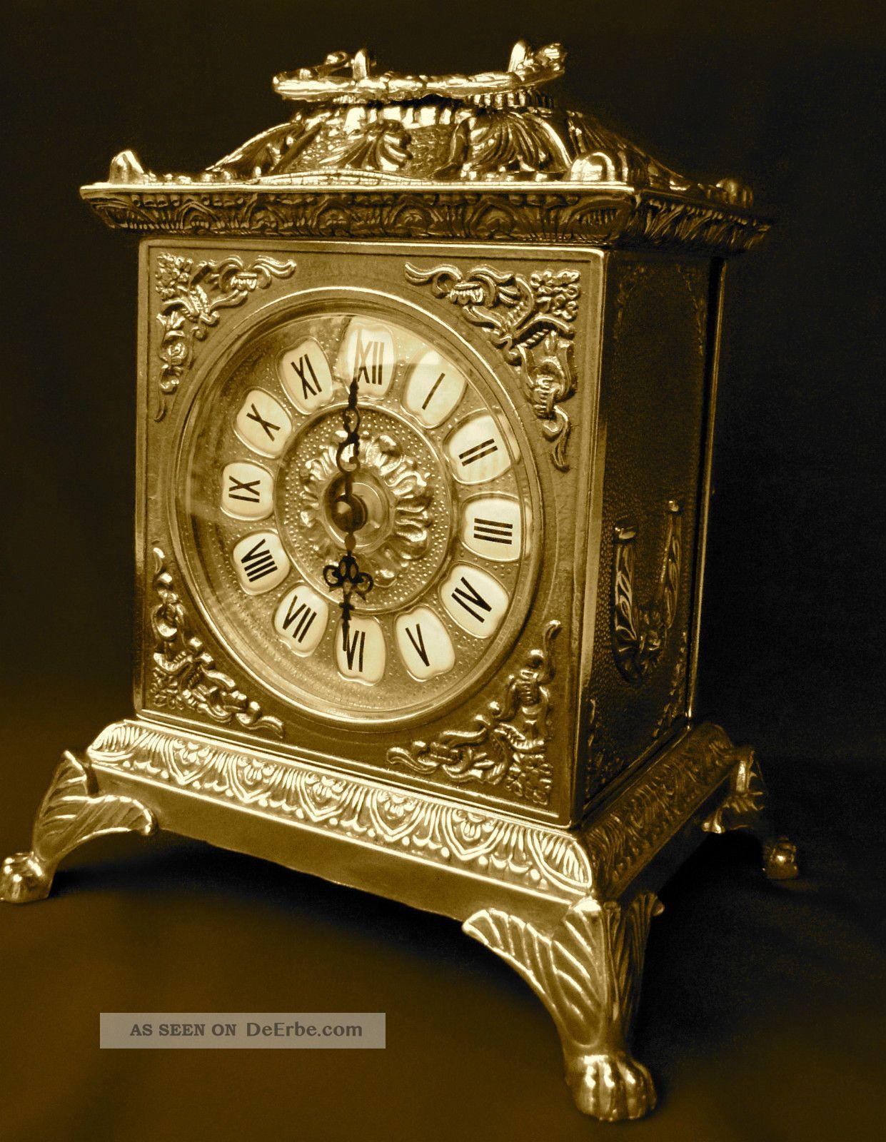 Kaminuhr Mit Quarzwerk Messing Tischuhr Antik Barock Gold Uhr Massiv 1082108 Gefertigt nach 1950 Bild