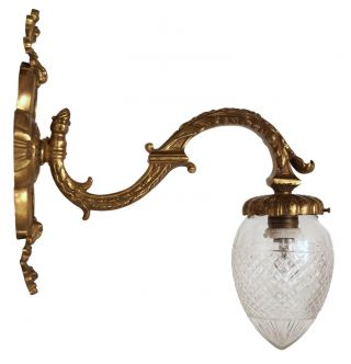Einzelstück Schöne Jugendstil Wandlampe Wandleuchte Messing Keilschliff Bild