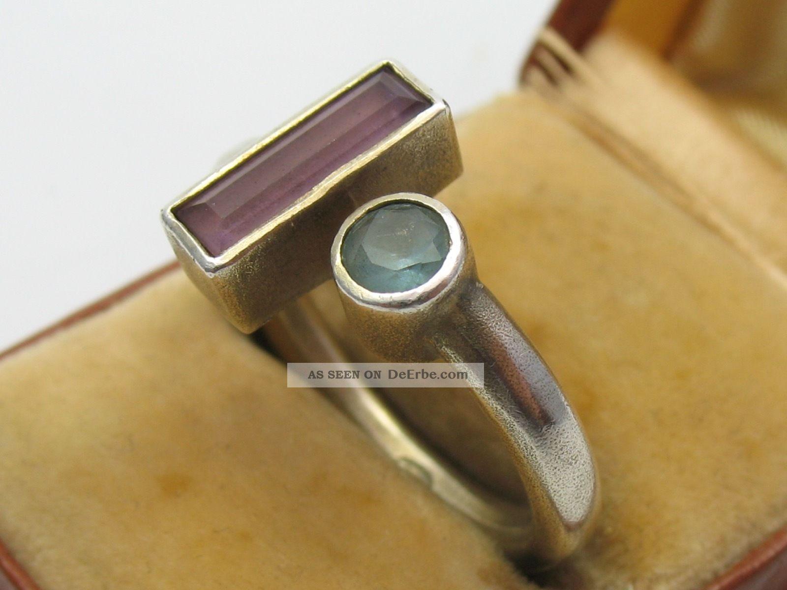 Handarbeit Klasse Designer Ring Aus 925 Silber Mit Verschiedenen Steinen Ringe Bild