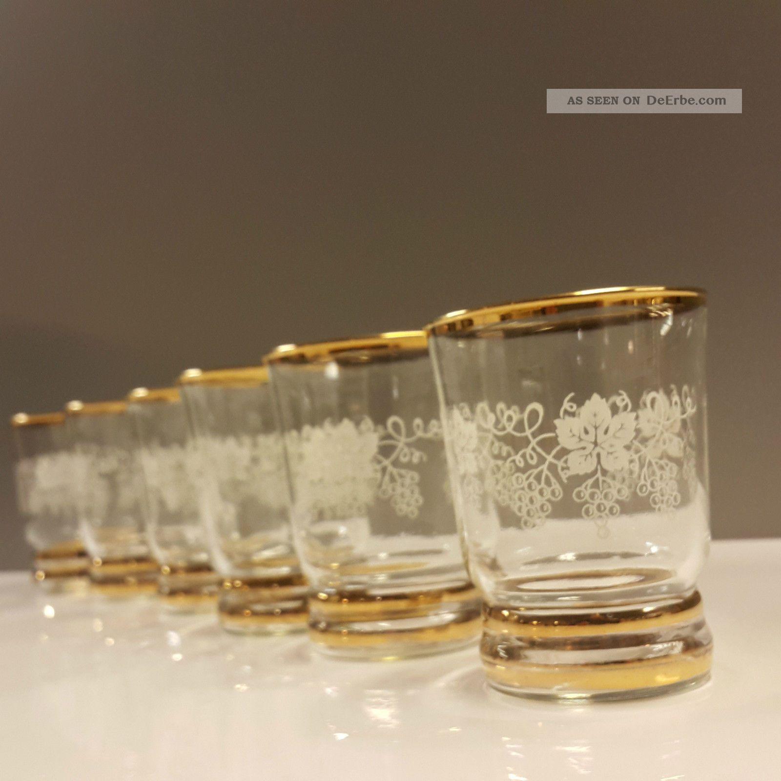 6 Weingläser Becherglas Goldrand Weinlaub Weintaruben Dekor Vintage Kristall Bild