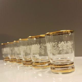 6 Weingläser Becherglas Goldrand Weinlaub Weintaruben Dekor Vintage Bild
