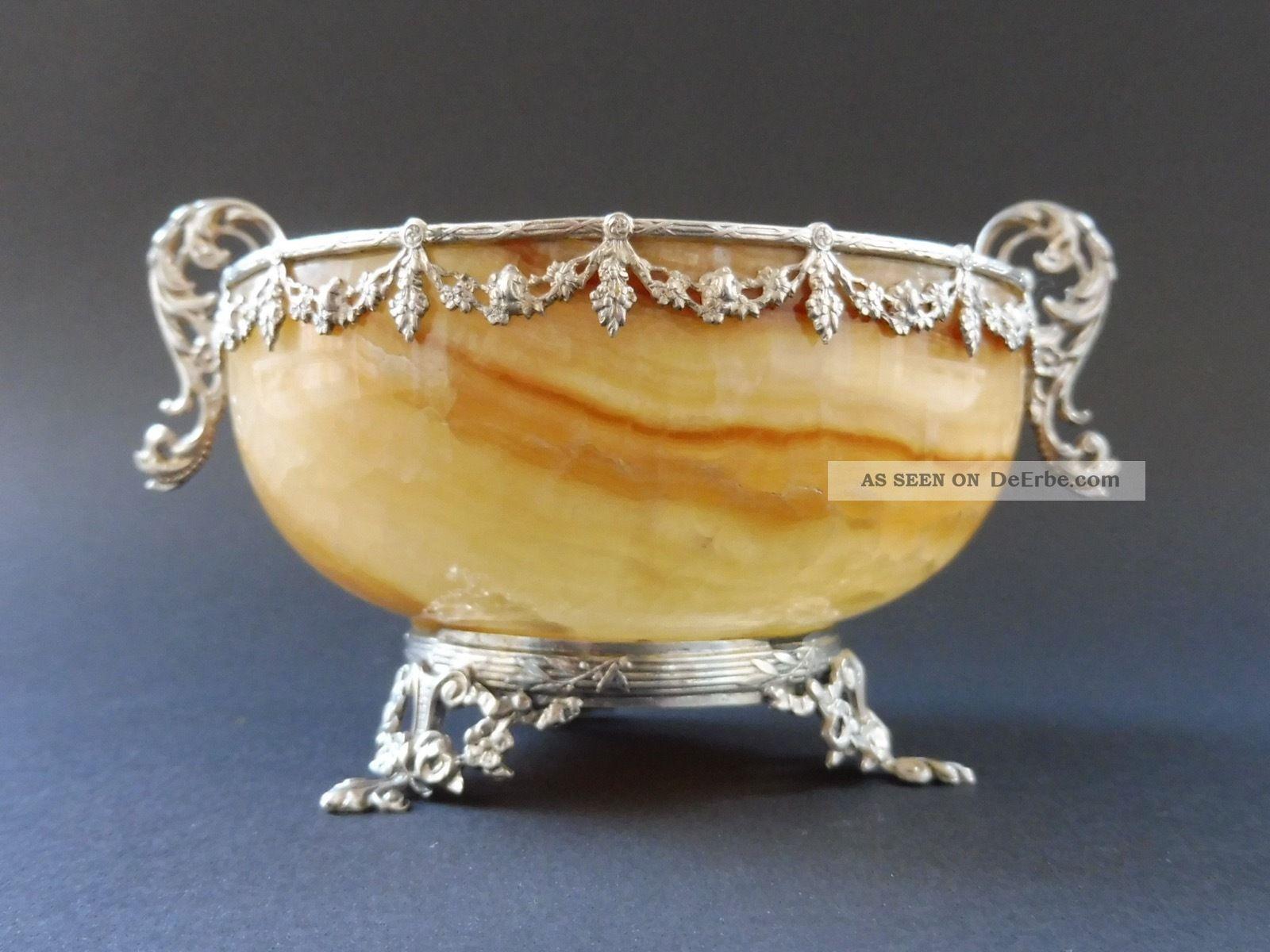 800 Silber Montierte Jugendstil Onyx Schale Jardiniere Art Nouveau Floral Antik 1890-1919, Jugendstil Bild