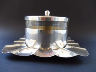 :: Große Art Deco StÖr Kaviar Servier Dose Caviar Sturegon Box Versilbert Glas Bild