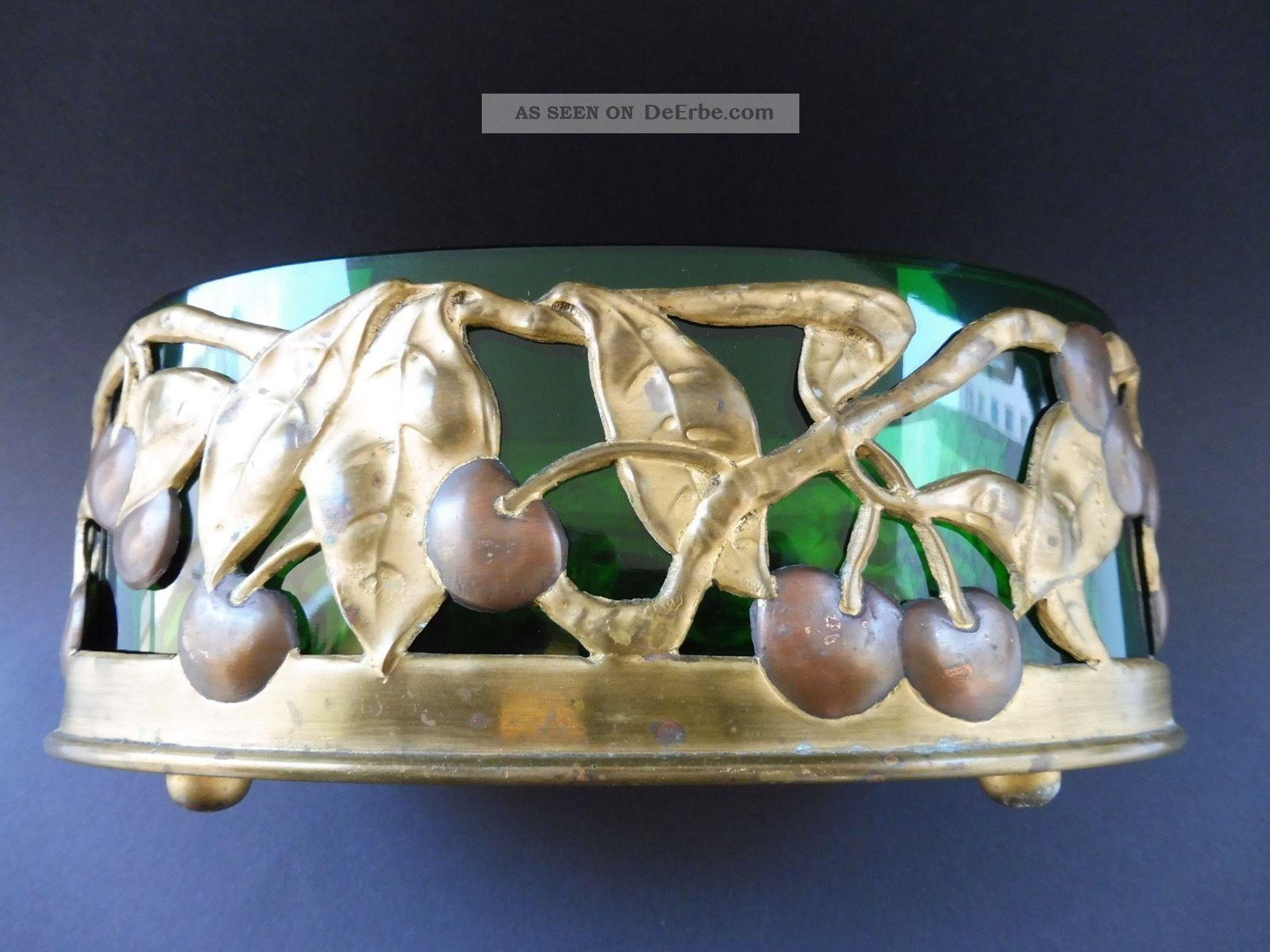 :: Antique Jugendstil Kirsche Cherry Jardiniere Vergoldet GrÜn Glas Art Nouveau 1890-1919, Jugendstil Bild