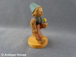 Erzgebirge Volkskunst Schumann & Wagner Holzfigur Hollandjunge Gelbe Tulpe Bild