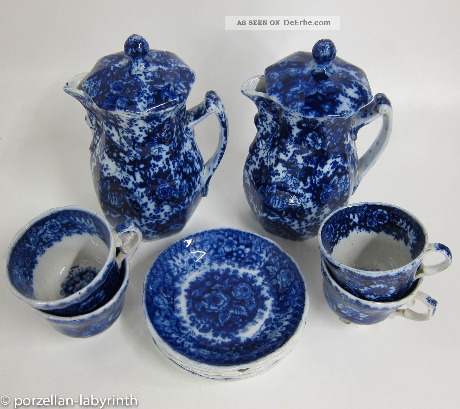 2 Kannen - 5 Tassen Mit Ut Gebr.  Horn Hornberg Keramik Um 1850 Tasse Kanne Blau Nach Stil & Epoche Bild