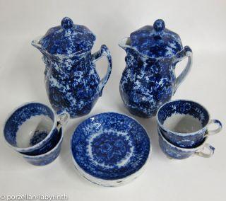 2 Kannen - 5 Tassen Mit Ut Gebr.  Horn Hornberg Keramik Um 1850 Tasse Kanne Blau Bild