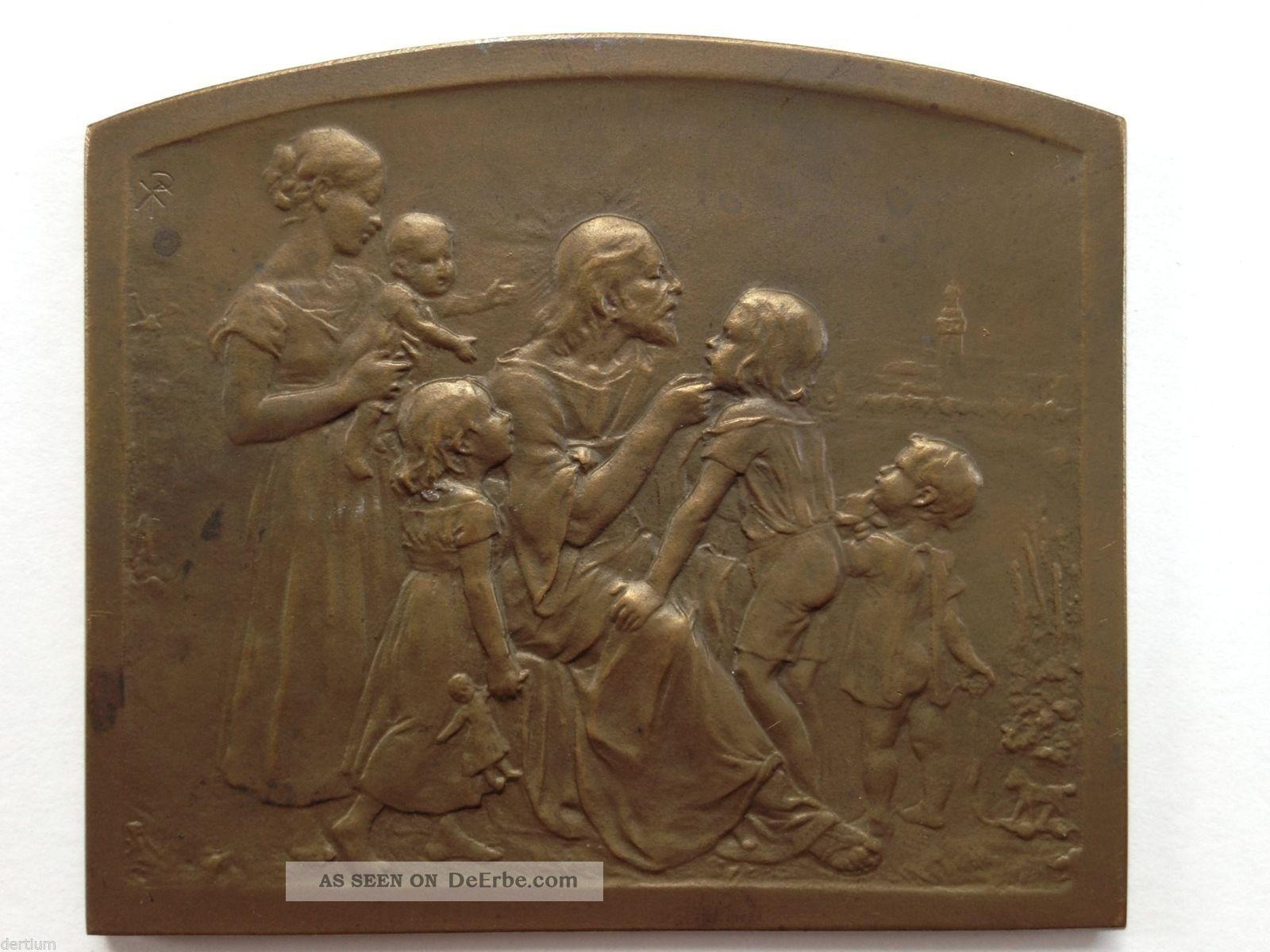 Medaille - Plakette Christus Mit Kindern Um 1900 1900-1949 Bild