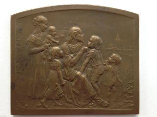 Medaille - Plakette Christus Mit Kindern Um 1900 Bild