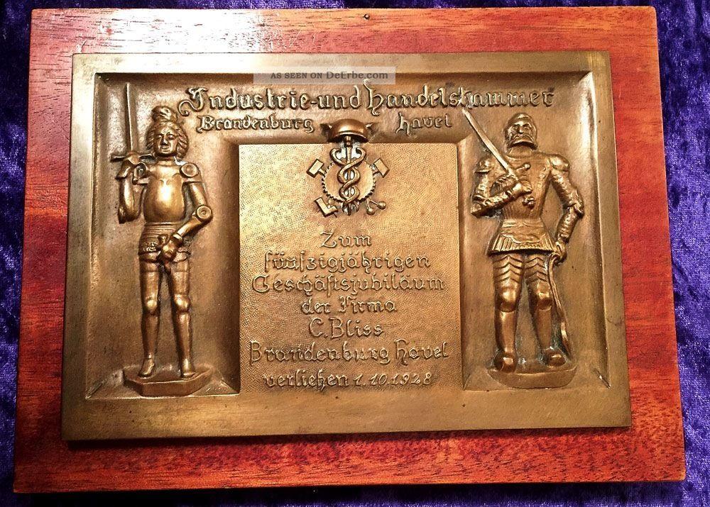 20er Jahre / Imposante Auszeichnung/ Industrie,  Handelskammer Brandenburg Havel Messing Bild