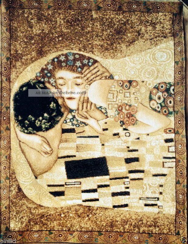 Wandteppich Gobelin Der Kuss Gustav Klimmt The Kiss 53x70 Wandbehang Teppiche & Flachgewebe Bild