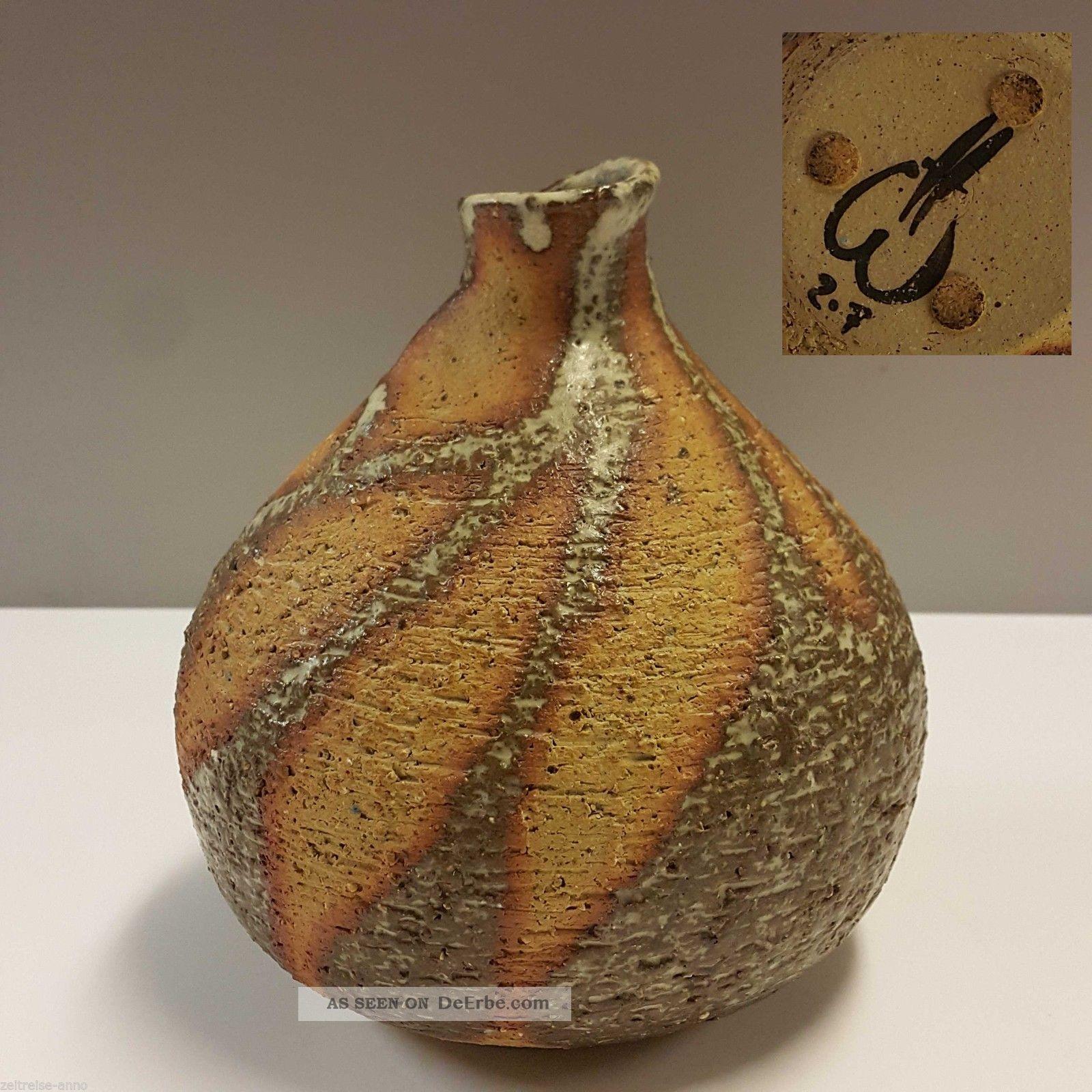 Ausgefallene Studiokeramik Kürbis Vase Blumenvase Handarbeit Steinoptik Signiert Nach Form & Funktion Bild