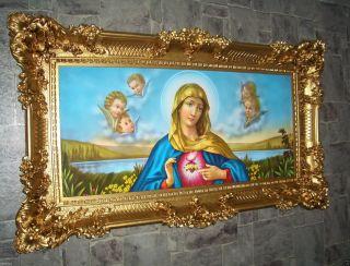 Heilige Bild Maria Gerahmte Gemälde Rahmen 97 X 57 Cm Ikonen Jesus Christus Bild