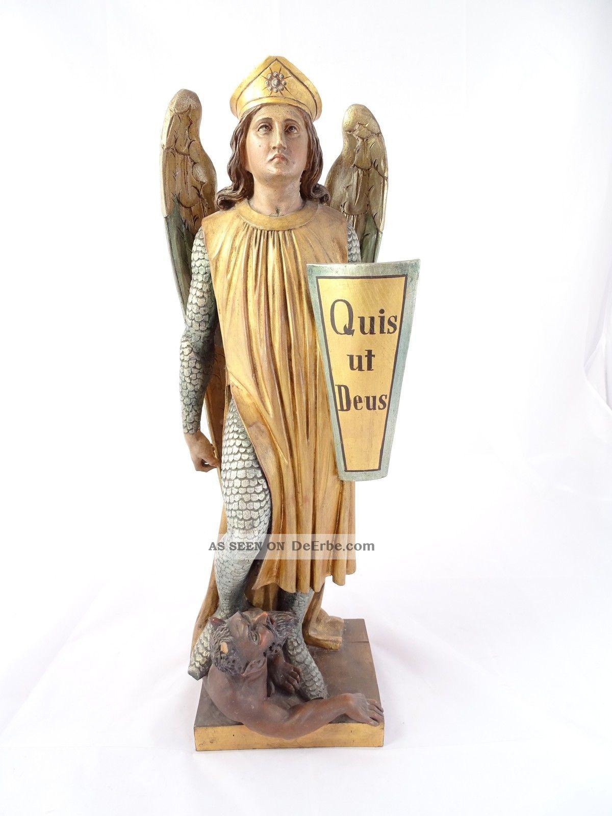 Antike Skulptur Plastik Erzengel Michael - Quis Ut Deus Holz Handarbeit Rarität Skulpturen & Kruzifixe Bild