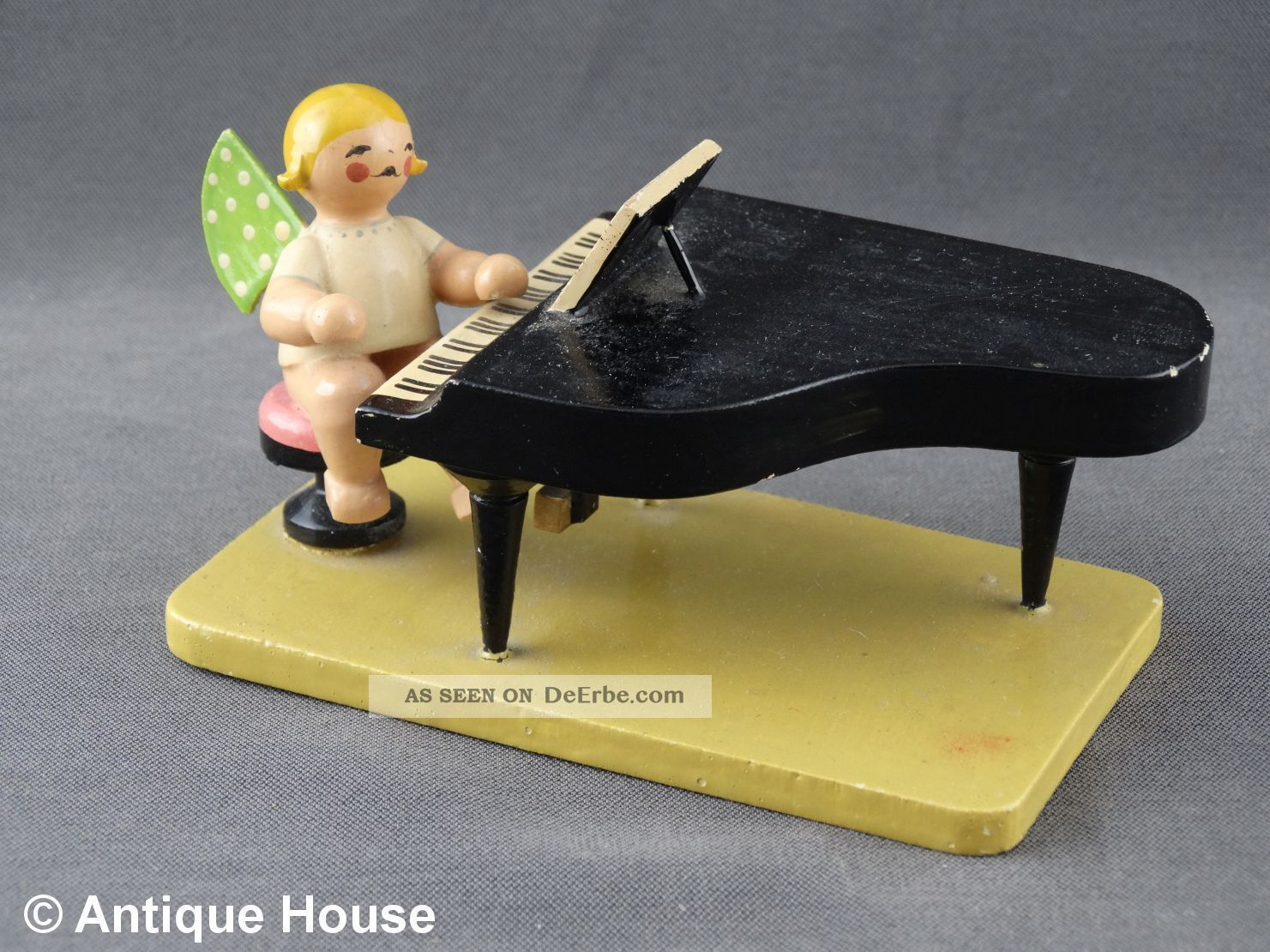 Wendt & Kühn Alter Engel Mit Klavier Piano Vorkrieg Rundes Logo Antike Originale vor 1945 Bild