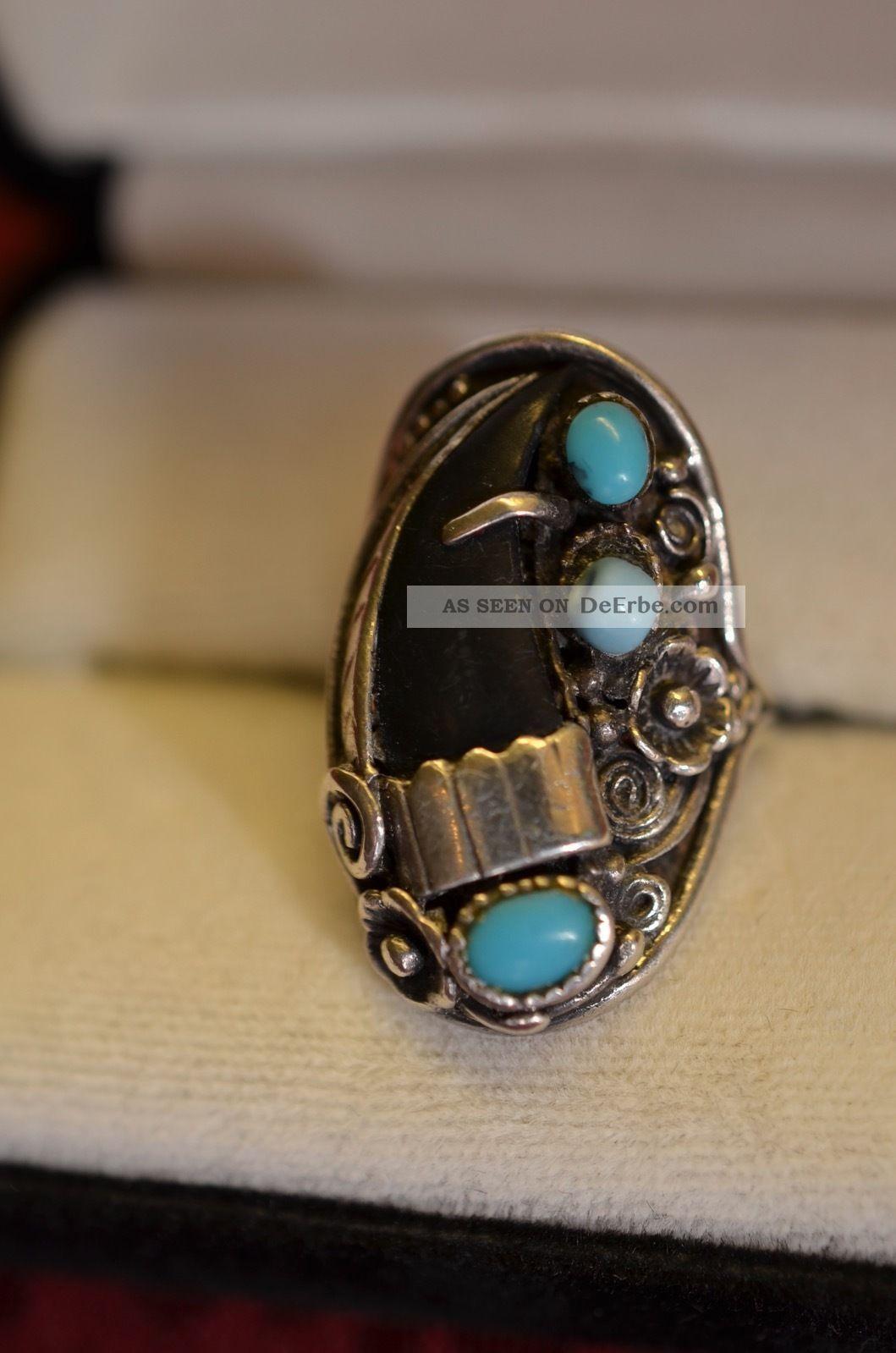 Schöner Alter Ausgefallener Silber 925 Damenring Ringe Bild