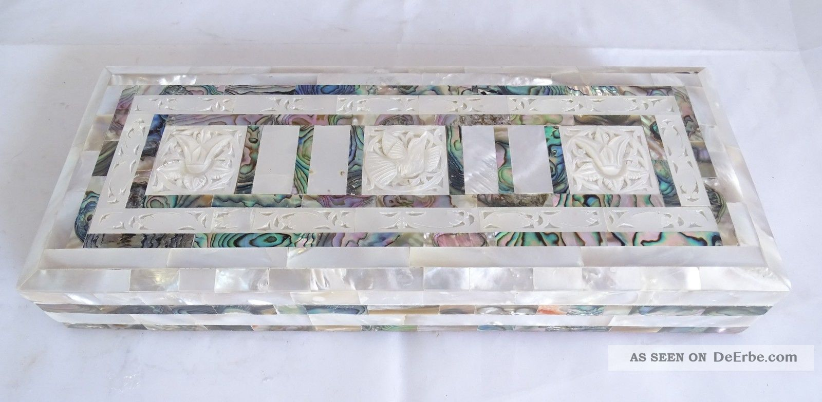 Antike Schmuck Schatulle Mit Herrlichen Floralen Perlmutt Einlegearbeiten Box Schmuck & Accessoires Bild