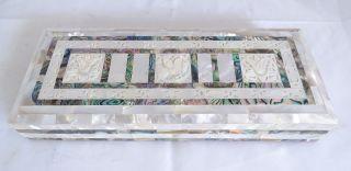 Antike Schmuck Schatulle Mit Herrlichen Floralen Perlmutt Einlegearbeiten Box Bild
