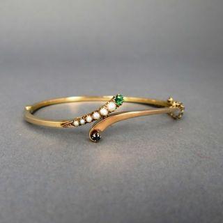Antiker Goldener Armreif Mit Perlen Und Edelsteinen Bild