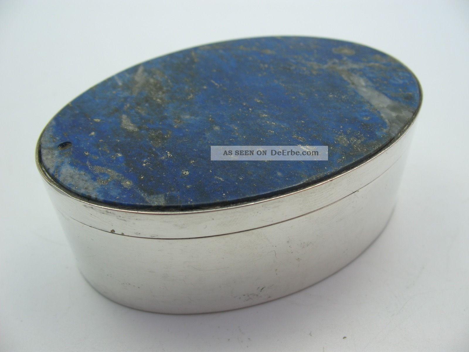 Schöne Große Ovale Tabatiere Schnupftabakdose Aus 800 Silber Mit Lapislazuli Objekte vor 1945 Bild
