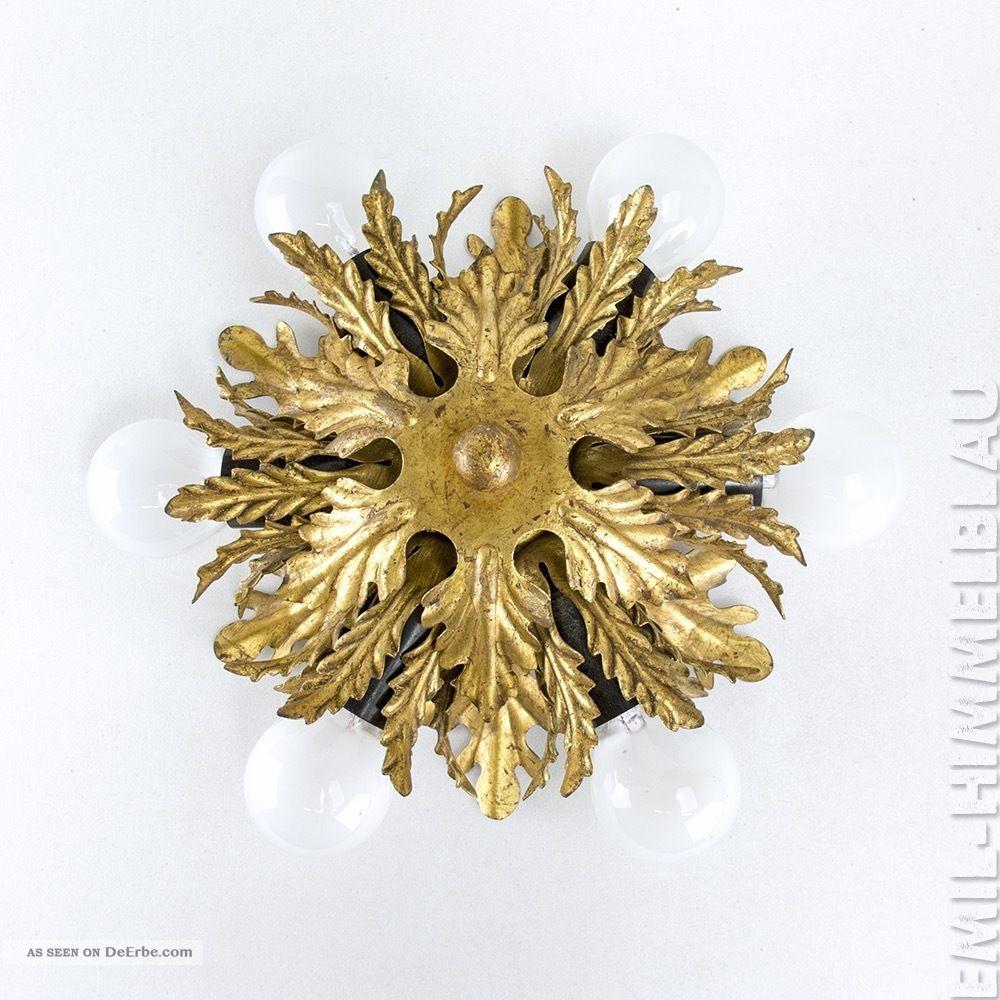 1 Deckenlampe Leuchte BlÄtter 60s Metall Florentiner Hollywood Blattgold 1960-1969 Bild