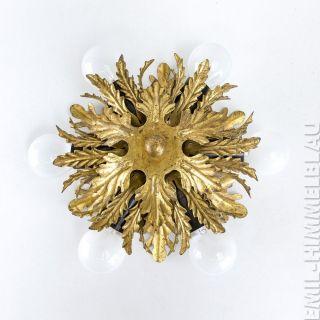 1 Deckenlampe Leuchte BlÄtter 60s Metall Florentiner Hollywood Blattgold Bild