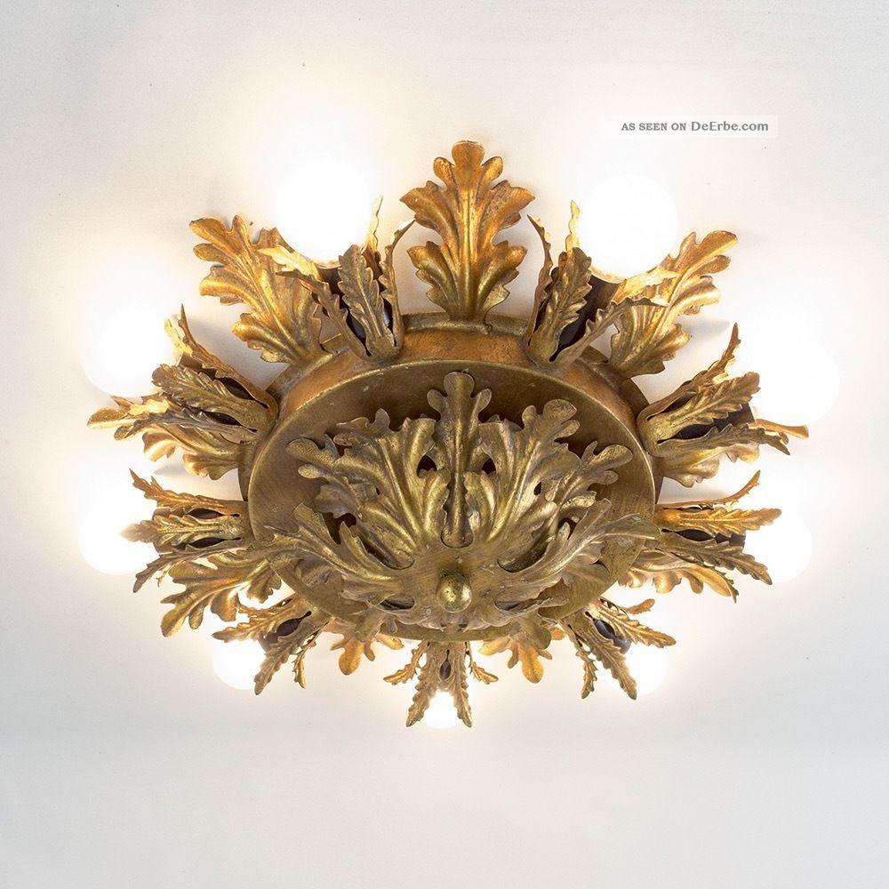 Deckenlampe Leuchte BlÄtter 60s Metall Florentiner Hollywood Blattgold 1960-1969 Bild