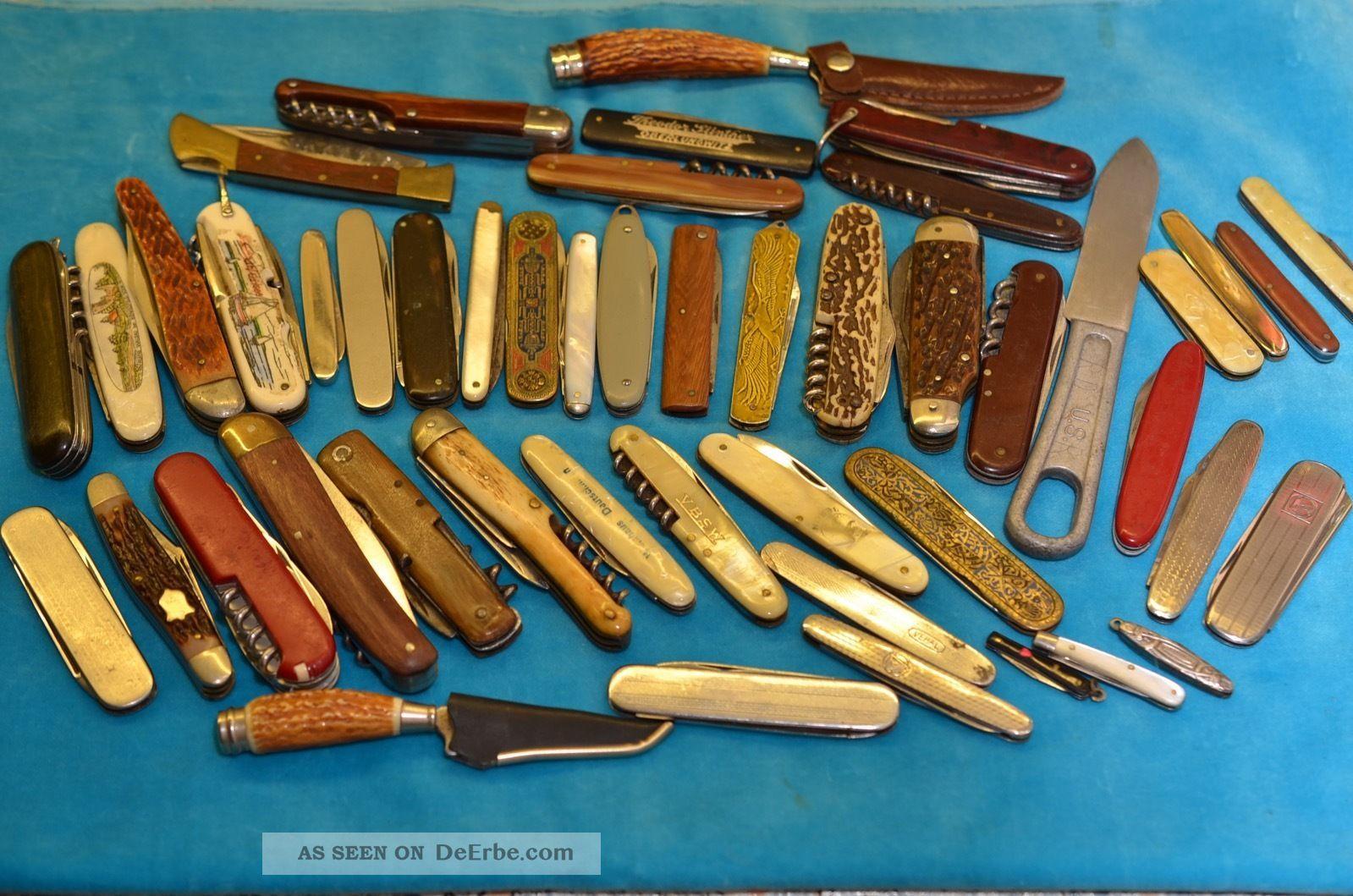 Großes Konvolut Posten Alter Taschenmesser Sammlermesser 45 Stück Jagd & Fischen Bild